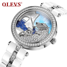 OLEVS Simulated Diamond Polar Bear Dial Dress Quartz Women Watches Simple Ceramic Ladies Watch Waterproof relogio feminino L134