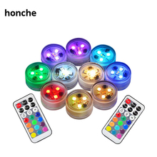 12pcs Remote Controlled Submersible Led Lights Battery Operated Waterproof Bath Light Vase Tub Home Decorations Mood Lighting