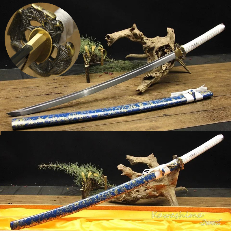 Real Steel Japanese Samurai Sword T10 Clay tempered Full Tang Katana Blue Scabbard With Gold Lines