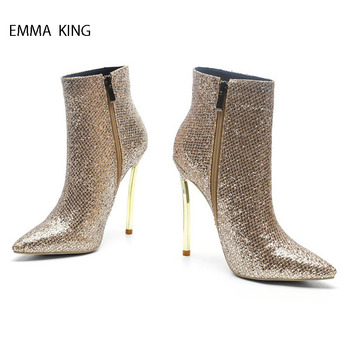 Botines Mujer 2018 Spring Autumn Gold Ankle Boots For Women Side Zipper Stilettos Pointy Toe Thin High Heels Fashion Women Shoes