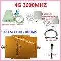 4G FDD 2600 MHz Teléfono Celular Repetidor 65db de Ganancia 4G LTE 2600 mhz Mobile Booster de Señal Amplificador Kit con 2 interior + 1 al aire libre antena