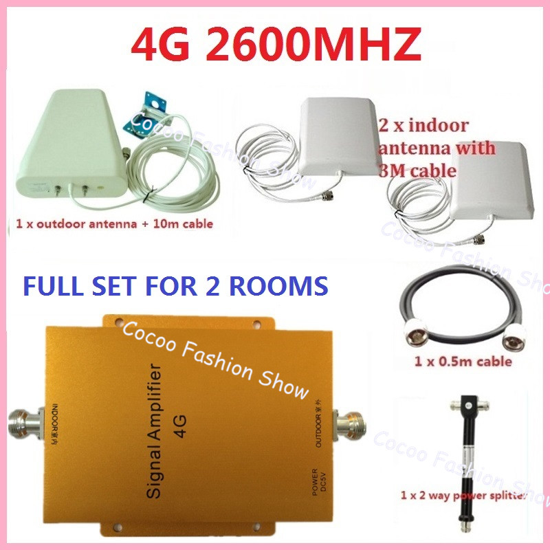 4G FDD 2600MHz Cell Phone Repeater 65db Gain  LTE 2600mhz Mobile Signal Booster Amplifier Kit with 2 indoor+1 outdoor Antenna-in Phone Holders & Stands from Cellphones & Telecommunications    1