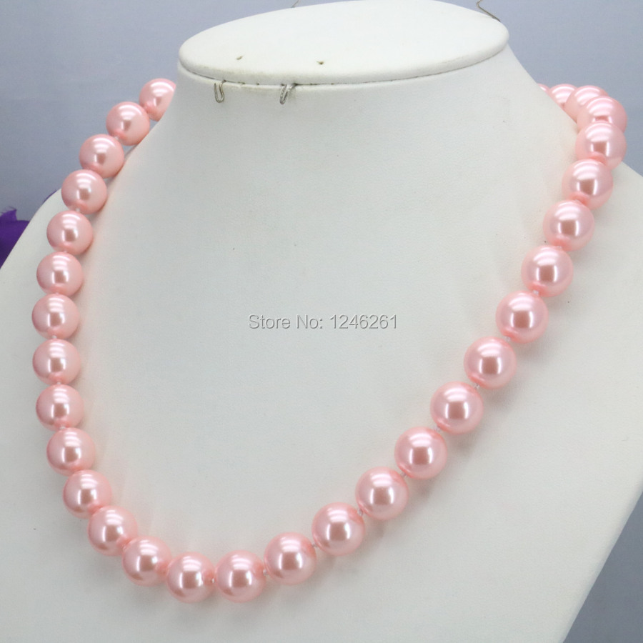 Special Offer Christmas Gifts Girls 10mm Pink Glass Pearl Beads Necklace Jewelry Making Design For Women