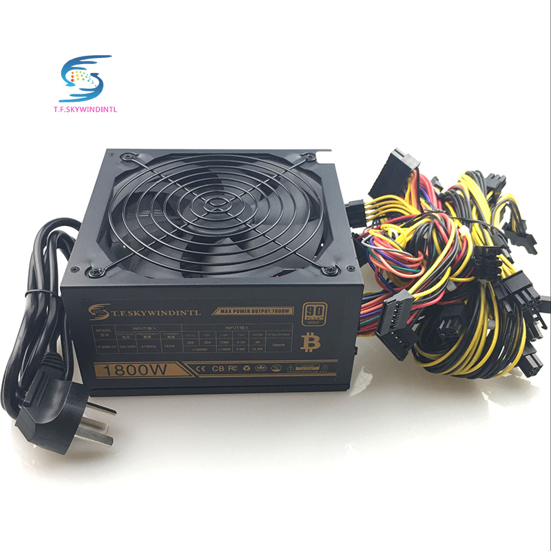 1800W Pc Mining Power Supply PSU 24pin For Bitcoin Miner R9 380 390 RX 470 480