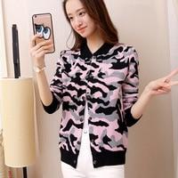 Autumn 2017 new women's sweater cardigan jacket Slim female leopard camouflage jacquard sweater tide AL115