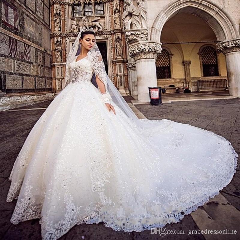 New Ball Gown Wedding Dress With Veil Crystal Top Vestido