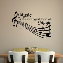 Wall Art Sticker Music Note Treble Clef Room Decoration Music Quotes Poster Vinyl Removeable Ornament Beauty Nursery Decal LY401 цена