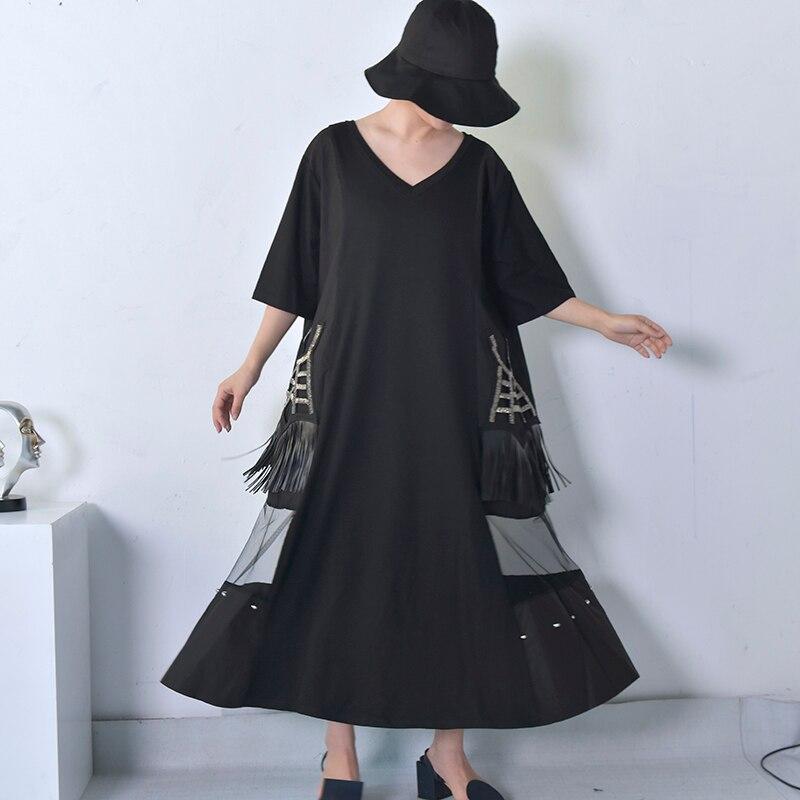 LANMREM 2018 New Spring Summer V-neck Short Sleeve Black Hollow Out Strings Pocket Tassels Big Size Women Fashion Dress JE454