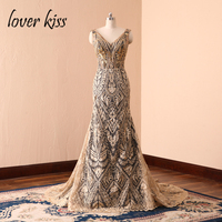 Lover Kiss 2018 V Neck Luxury Gold Lace Rhinestone Beaded Evening Dresses Gorgeous Celebrity Banquet Party