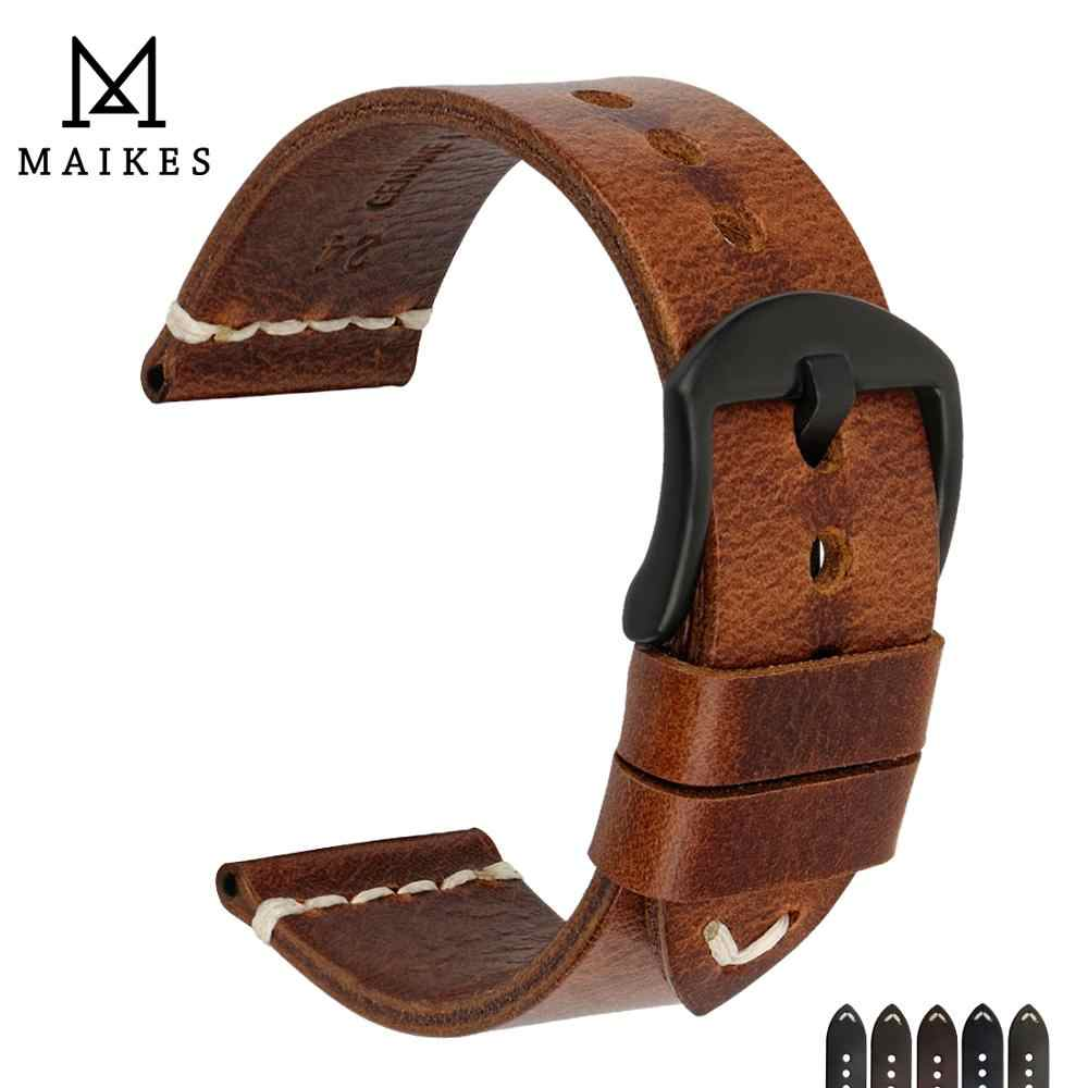 MAIKES 2018 New Arrival Watch Accessories Watchbands 20mm 22mm 24mm Vintage Genuine Leather Watch Strap Bracelets Watch Band
