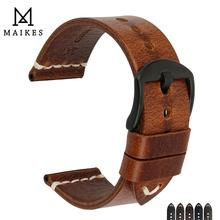 Maikes pulseira de relógio de couro genuíno, para samsung gear s3/tissot, 20mm 22mm 24mm pulseira de relógio