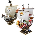 Anime One Piece Thousand Sunny Going Merry Pirate Ship Assemble Model Retail Box PVC Boat Action Figure Kids Collectible Toy