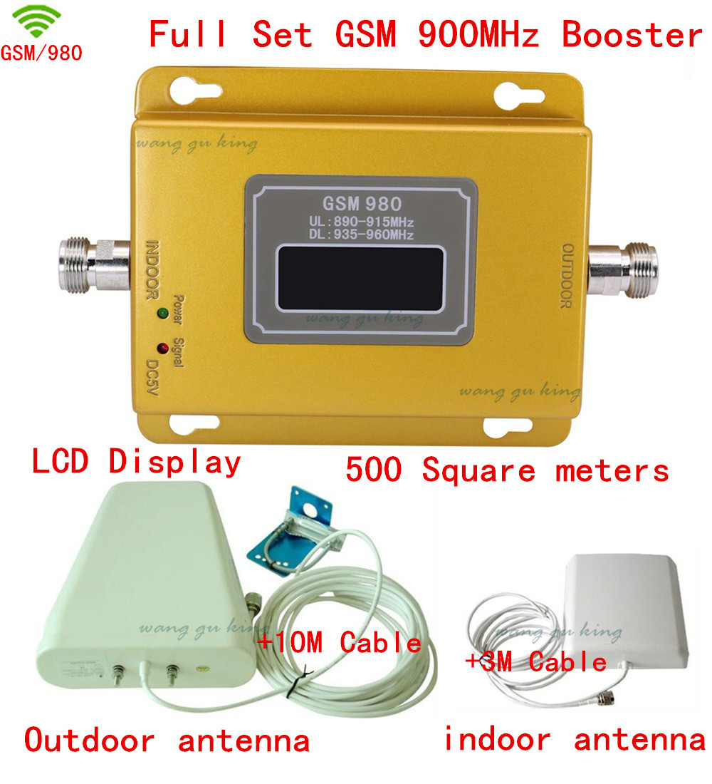 Full Set LCD GSM 900Mhz Mobile Phone Signal Booster ,GSM Signal Repeater ,Cell Phone Amplifier Outdoor Antenna + Indoor Antenna