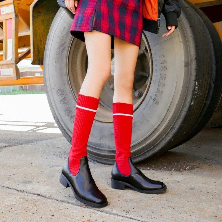 Pxelena rojo Botas Rodilla Cuadrados Otoño Calcetines De Tacones Zapatos 2018 Alta Tejer Cuero Real Mujer Nuevo Estiramiento Bajos Moda Negro Toe Montar q1cWrp0q