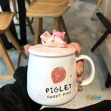 Cute Cartoon Piglet Water Cup Pink Teenage Strawberry Pig Ceramic with Spoon Milk Coffee Mug Gift of The Year