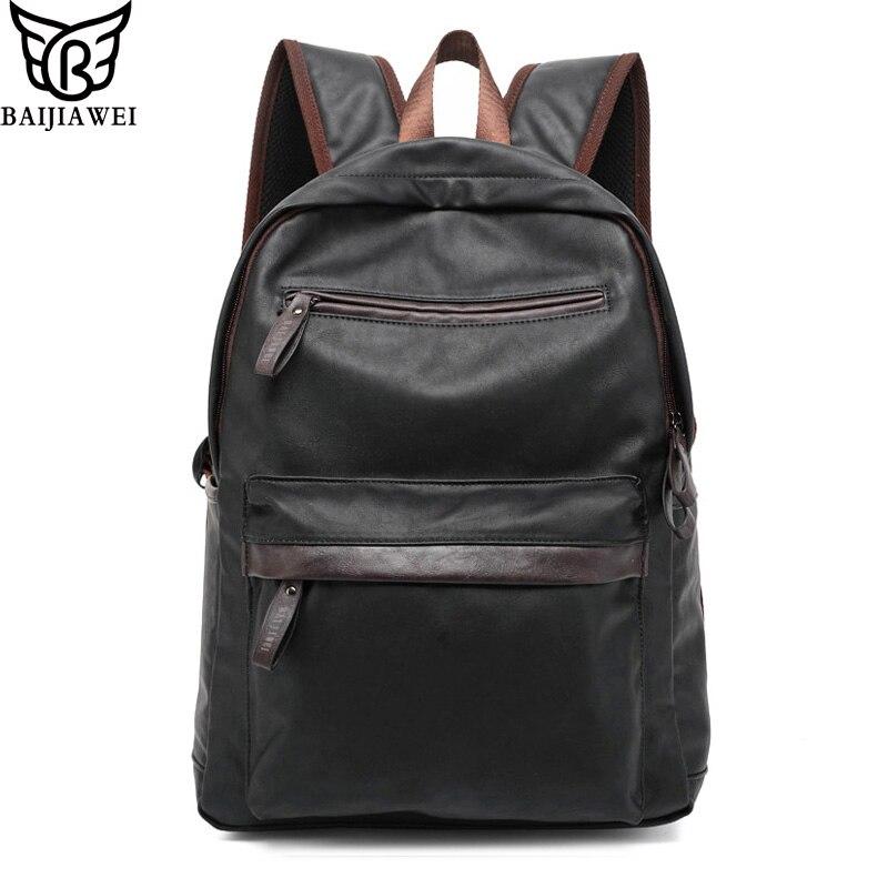 BAIJIAWEI Oil Wax Leather Backpack For Men Western College Style Bags Men's Casual Backpack & Travel Bags Mochila Zip baijiawei fashion design men oil wax leather backpack men s school backpack