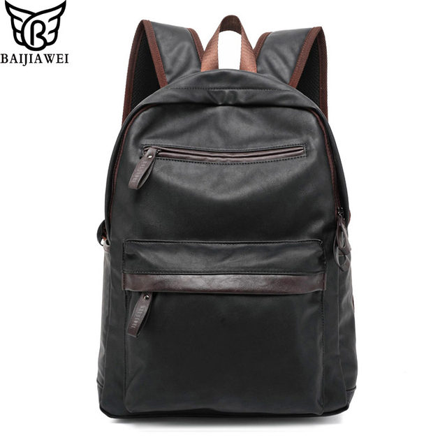 BAIJIAWEI Oil Wax Leather Backpack For Men Western College Style Bags Men's Casual Backpack & Travel Bags Mochila Zip
