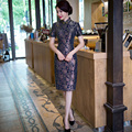 Historia shanghai tendencia nacional del estilo chino de manga corta vestido de encaje vestido de china cheongsam qipao tradicional chino clothing
