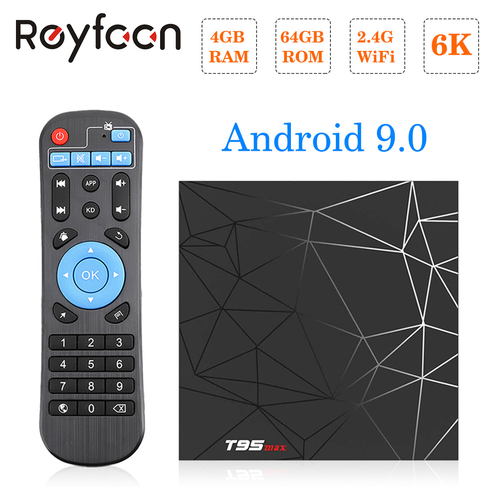 T95 MAX Android 9.0 Caixa de TV 4GB H6 64GB Allwinner Quad Core 6K H.265 USD3.0 Wifi HDR suporte Do Google Youtube Jogador Smart Tv Box