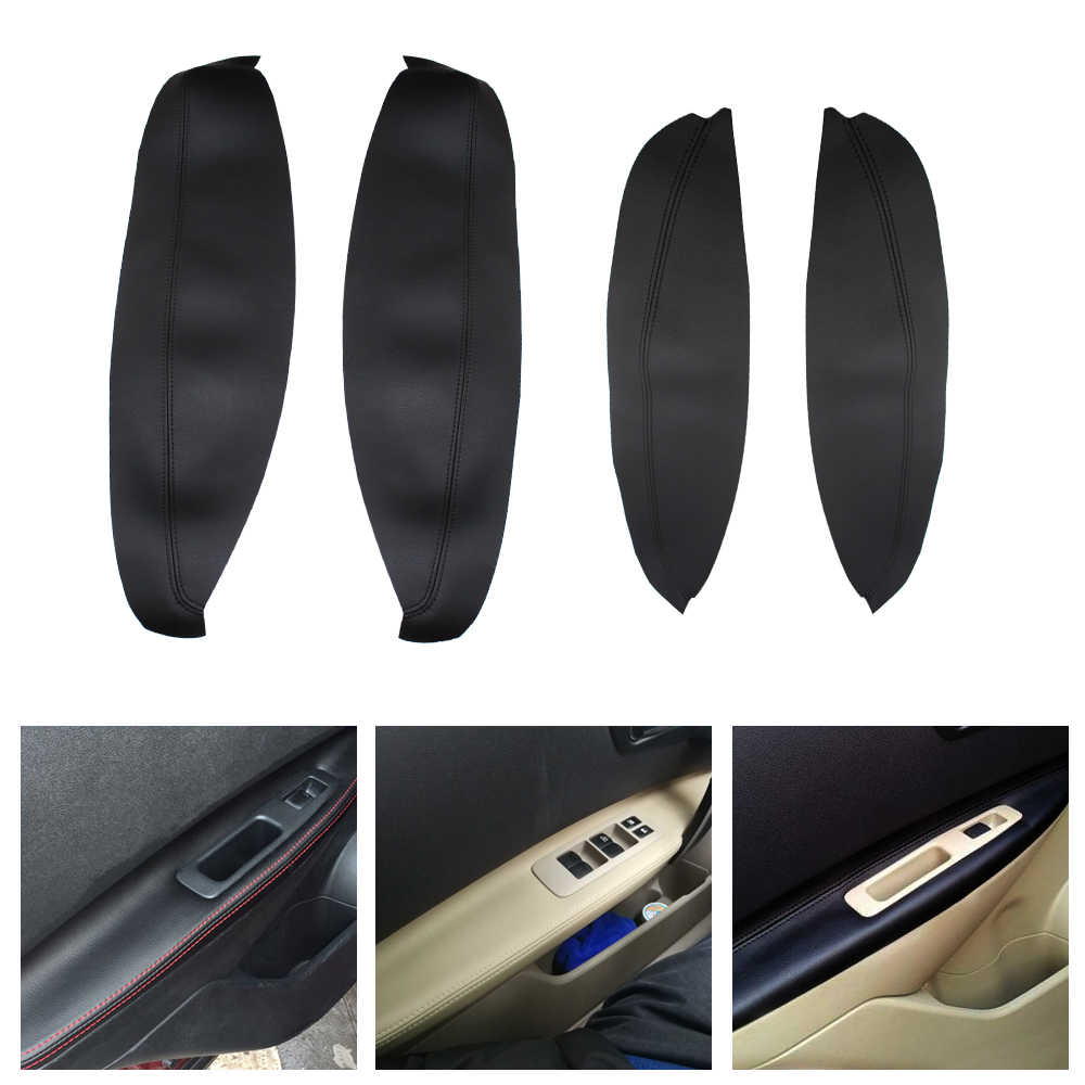 1Pair Microfiber Leather Front / Rear Door Panels Armrest Covers Protective Trim for Nissan QASHQAI J10 2007-2012 2013 2014 2015