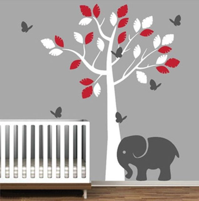 Huge 200x125cm elephant tree custom color wall decal sticker boy girls bedroom wall decals vinyl tree