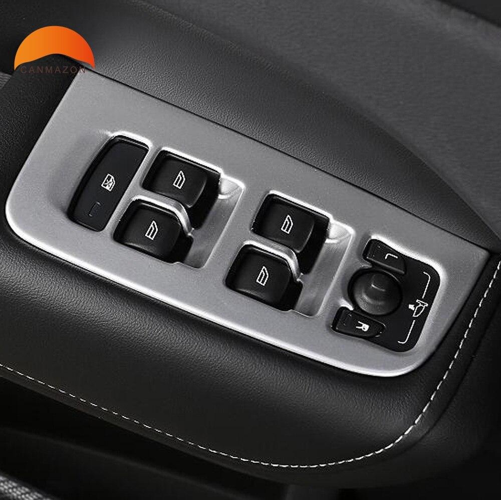 For Volvo XC 60 XC60 SUV 2018 2019 ABS Car Interior Matt Carbon Fiber Door Window Switch Panel Cover Trim Auto Accessories