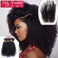 4 Шт./лот 7А Перуанский Девственные Волосы Шелк База Закрытие С Пучками, Kinky Вьющиеся 3 Bunles Перуанский Вьющиеся Волосы С Шелковой Закрытия