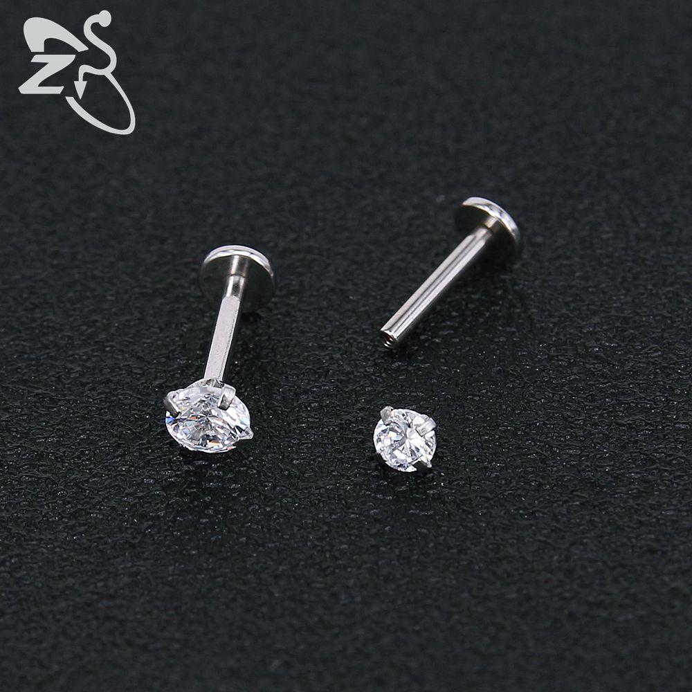 Stainless Steel Earring Studs Screw Earrings Girls Cubic Zirconia Cartilage Piercing Lip Studs Star Mini Earring Woman Jewellery 5