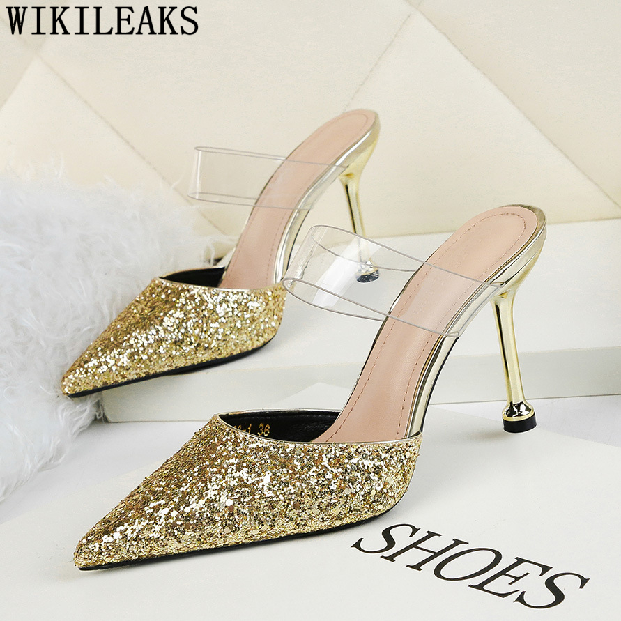 Glitter Heels Dress Shoes Women Extreme High Heel Slippers Gold Shoes Women Stiletto Mules High Heels Sexy Party Shoes For Women