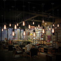 G/H/I American loft Creative Restaurant Cafe Bar Simple Single Head Iron Chandelier E27 brief cage pendent lights A163