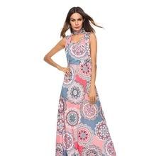 2019 Summer Dress Floral Print Boho Beach Dresses Tunic Maxi Women Evening Party Dress Sun dresses