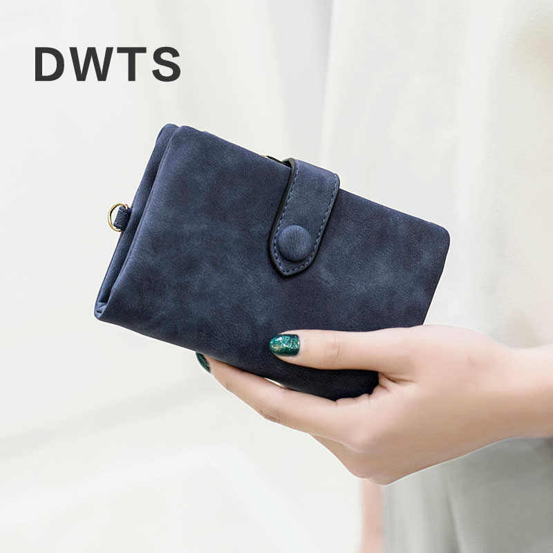Portfel kobiet SKÓRZANY PORTFEL matowy portfel krótki Cartera Mujer śliczne składany na trzy wielu kart portfel damski