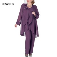 Elegant Mother Of The Bridal Pants Suits Purple Chiffon Women Party Dress With Jacket New Lady Formal Gowns Groom Mother CM206