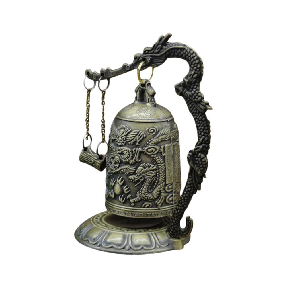Small Carved Bronze Lock Monk Chime Chinese Dragon Bell Arts & Crafts Collectibles Home & Living Decor Ornaments Desk Decoration