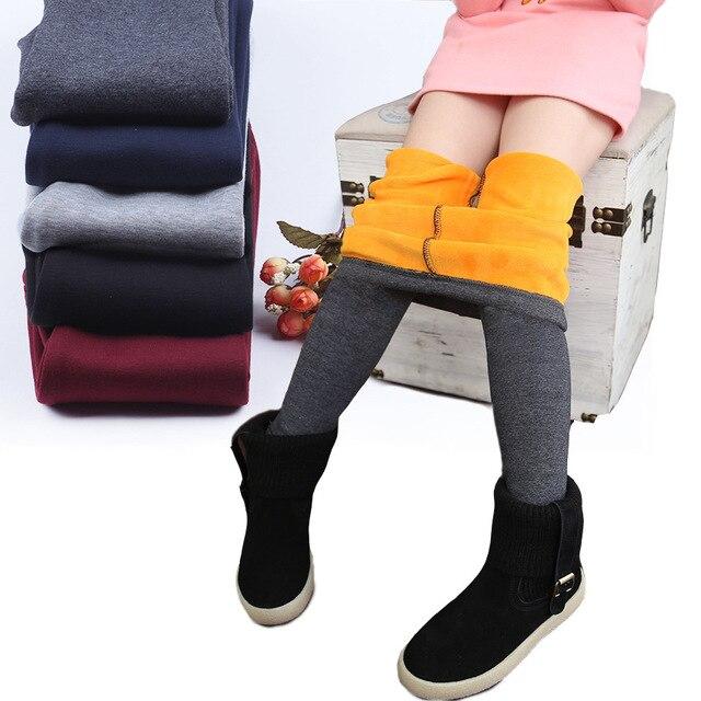 Новинка 2017 года На зимнем меху Универсальные леггинсы для девочек-30C детей пух штаны детские плотные теплые леггинсы с эластичным поясом штаны для девочек