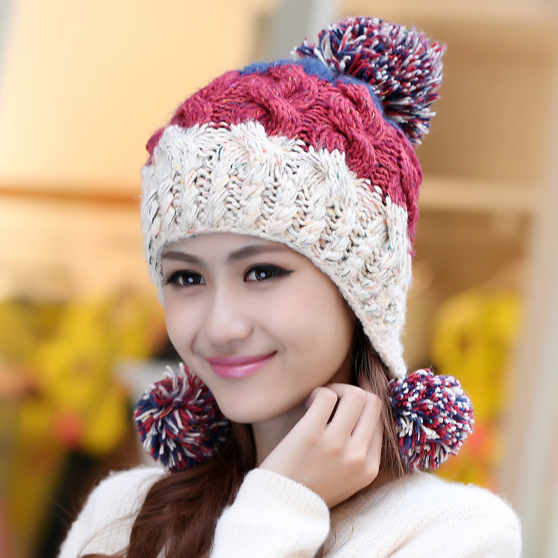 Winter Warm Woolen Knitted Hat Women Cap Slouch Beanie Crochet Hat Skullies Hair Ball Ear Muff Knitted Hat