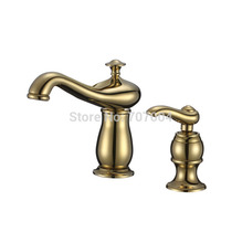 Golden Brass Basin Sink Faucet Bathroom one Handle Mixer Tap Deck Mounted Water Tap Torneira Para