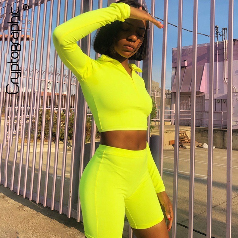 Cryptographic 2019 fashion neon green women sets zipper sexy crop tops with hole thumbs long sleeve two pieces high waist shorts