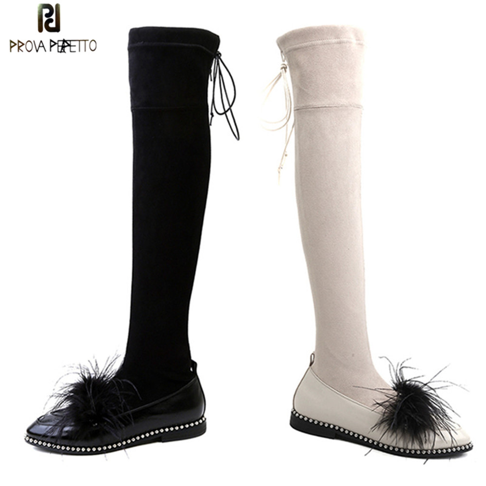 Prova Perfetto New Style Feathers Faux Suede Slim Boots Sexy Over The Knee High Women Boots Fashion Winter Thigh High Boots Shoe kickway faux suede slim boots sexy over the knee high women snow boots women s fashion winter thigh high boots plus size 45 46