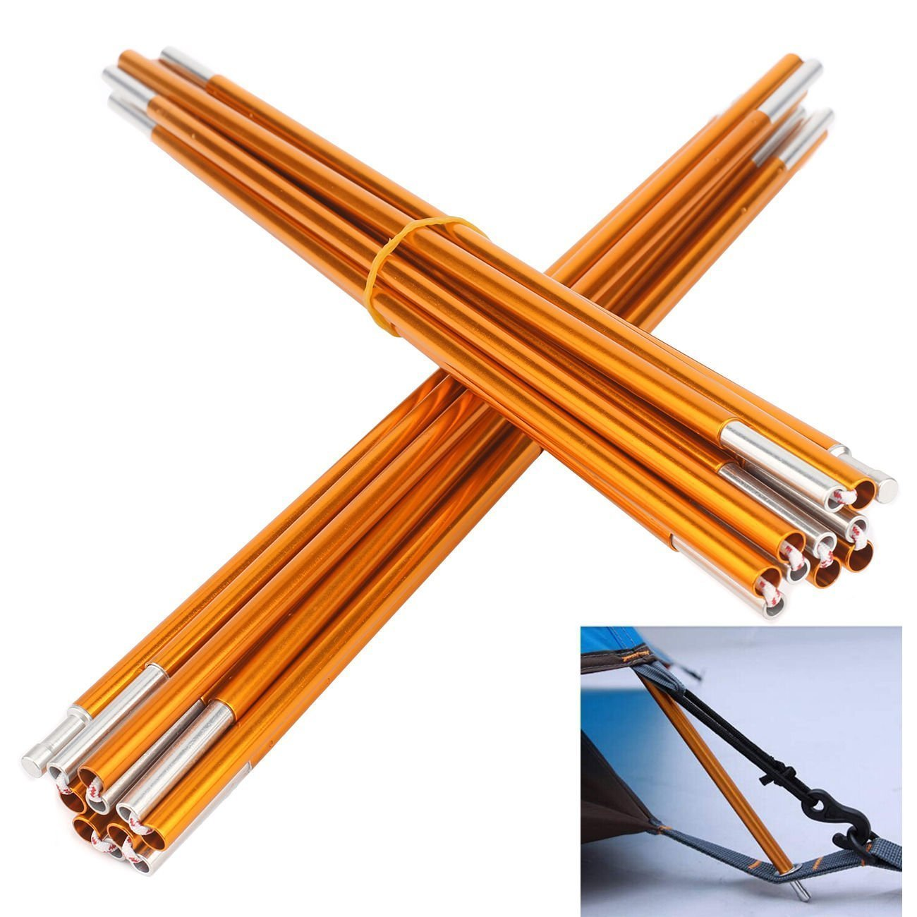 2pcs/set Tent pole 8.5mm Aluminum alloy outdoor camping tent support poles skeleton spare replacement tent rod tent accessories