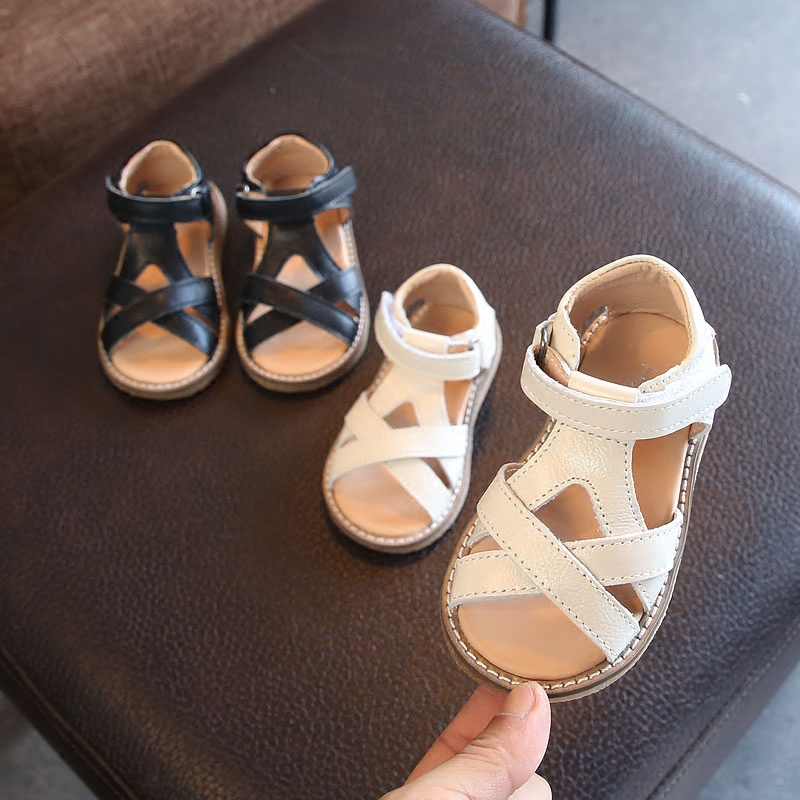 Baby Sandals Genuine Leather Girls Princess Shoes Summer Beach Sandals New Toddler Soft Bottom Shoes