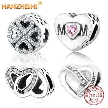 57e812660ead Cuentas clásicas amor corazón encanto Ajuste Original Pandora dijes pulsera  collar 925 cuentas de plata esterlina mujeres DIY berloque joyería