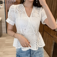 Women White Lace Blouses Runway V Neck Embroidered Tops 2019