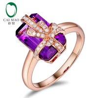 CaiMao 4.56ct натуральный аметист и 0.15ct круглый бриллиант 14 К розовое золото бант обручальное кольцо для женщин