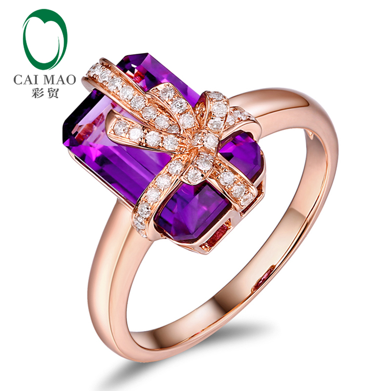 CaiMao 4.85ct Natural Amethyst And 0.16ct Round Diamond 14K Rose Gold Bow-Knot Engagement Ring For Women new free shipping 11 68ct 15mm round purple amethyst 14k gold natural diamond engagement ring