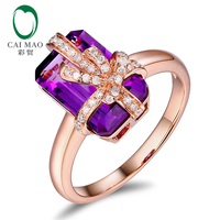 CaiMao 4.85ct Natural Amethyst And 0.16ct Round Diamond 14K Rose Gold Bow Knot Engagement Ring For Women
