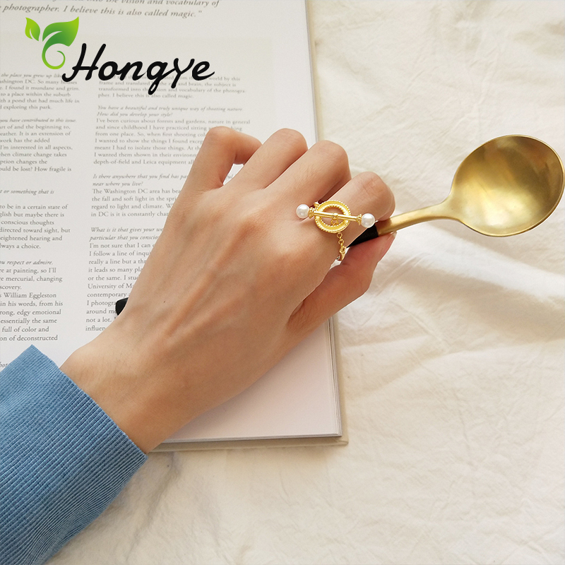 Hongye Natural Pearl Women Rings New Design Silver 925 Made Gold Color Chic Finger Jewelry Personalized Pearl Rings 2019 New