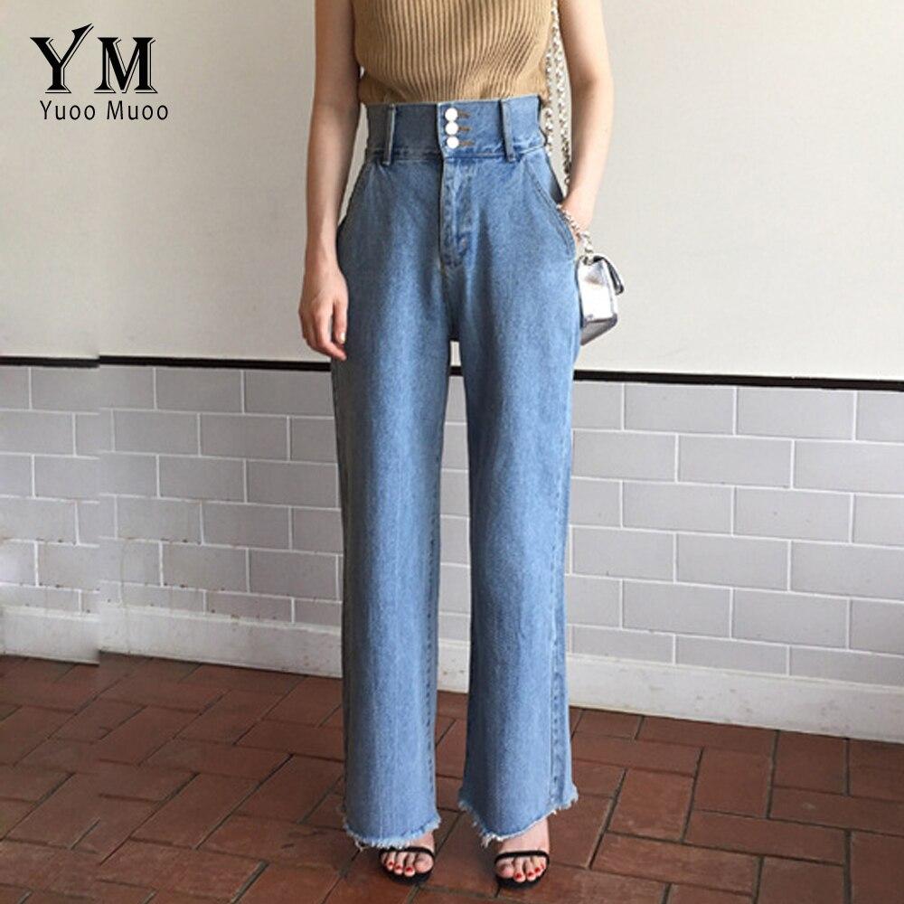 YuooMuoo Vintage High Waisted Jeans Women 3 Buttons Design Wide Leg Denim Pants Retro Loose Tassel Jeans Light Blue Trousers Jea