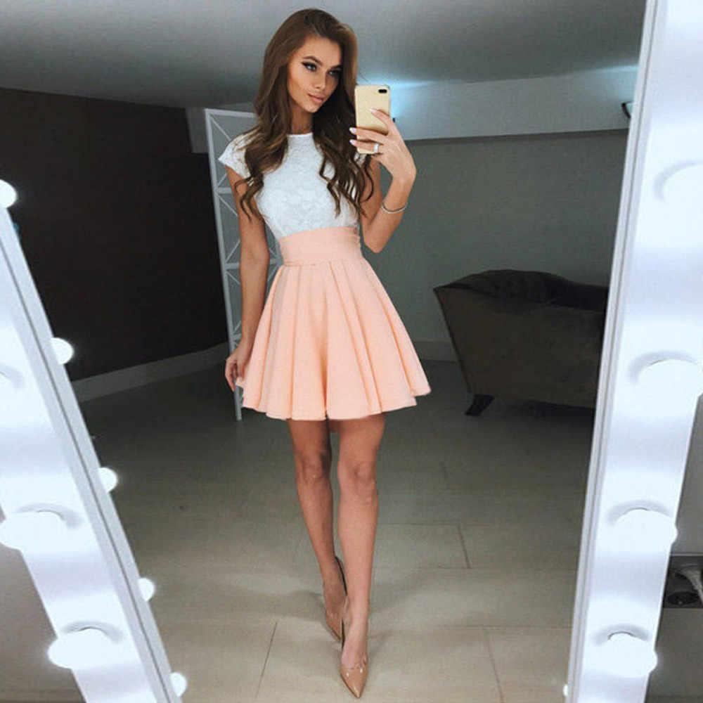 11ee052f96 Mujer De fiesta De encaje Mini Vestido cóctel De verano De manga corta Mujer  Vestidos De
