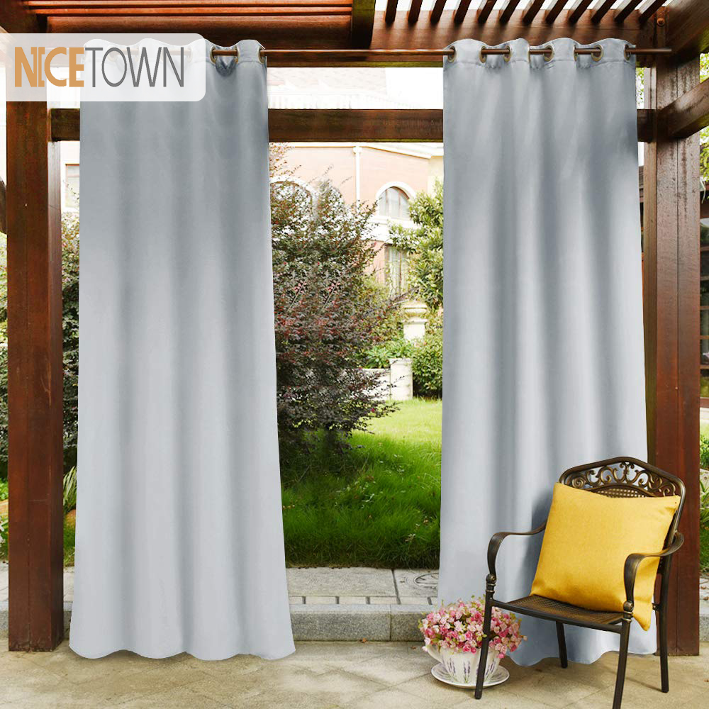 Waterproof Pergola Outdoor Blackout Curtain Panel D Top Ring Grommet Rust Proof Water Repellent For